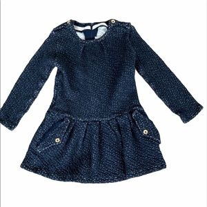 Jean Bourget Blue Polka Dot Long Sleeve Dress 3T